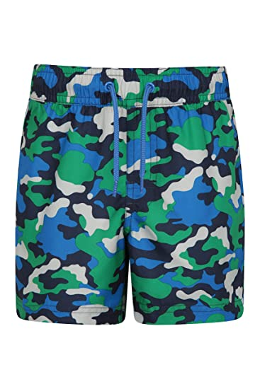 a8c876e4c7 Mountain Warehouse Patterned Boys Boardshorts - Easy Care Kids Swim Shorts,  Lightweight Beach Shorts, 2 Cargo Pockets with Adjustable Waist -for  Swimming, ...