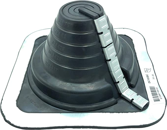 On Site Adjustable Roof Pipe Jack Boot with Round Base - Standard - Black Round, 2 High Temp Red//Gray EAGLE 1 EPDM Flexible Roofing Pipe Flashing Boots