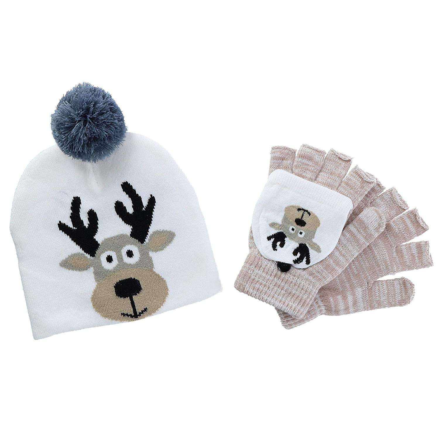 CTM® Kids' Winter Themed Hat and Convertible Glove Set, Grey GM-XMAS112ST-GRY