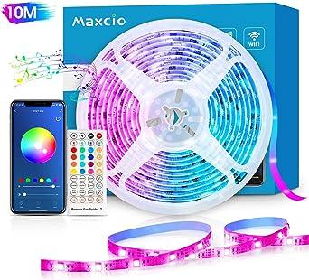 Alexa Tira LED RGB Wifi, Maxcio Tira LED Regulable Control de Voz ...