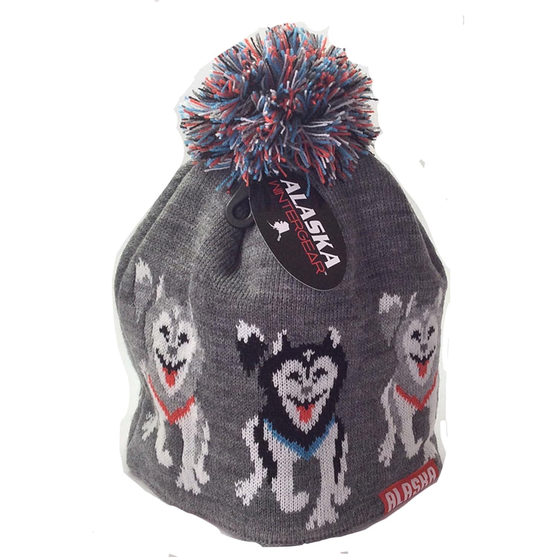 6325b22029c Amazon.com  Alaska Beanie Hat Skull Sled Dogin Row Team Knit Stocking Hat  Lined Pom Pom  Sports   Outdoors