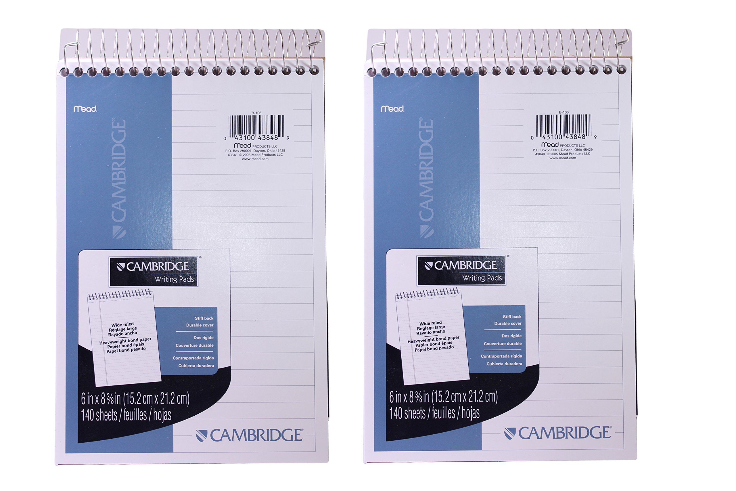 Mead Cambridge Writing Pads, Wide Ruled Stiff Back, 6 x 8 3/8 inches, 140 Sheets (Pack of 2)