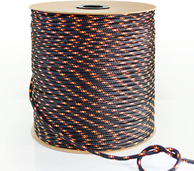 50m DQ-PP POLYPROPYLENSEIL 3mm Tauwerk PP Flechtleine Textilseil Reepschnur Leine Schnur Festmacher Rope Kordel Kunststoffseil Kletterseil geflochten SCHWARZ Polypropylen Seil