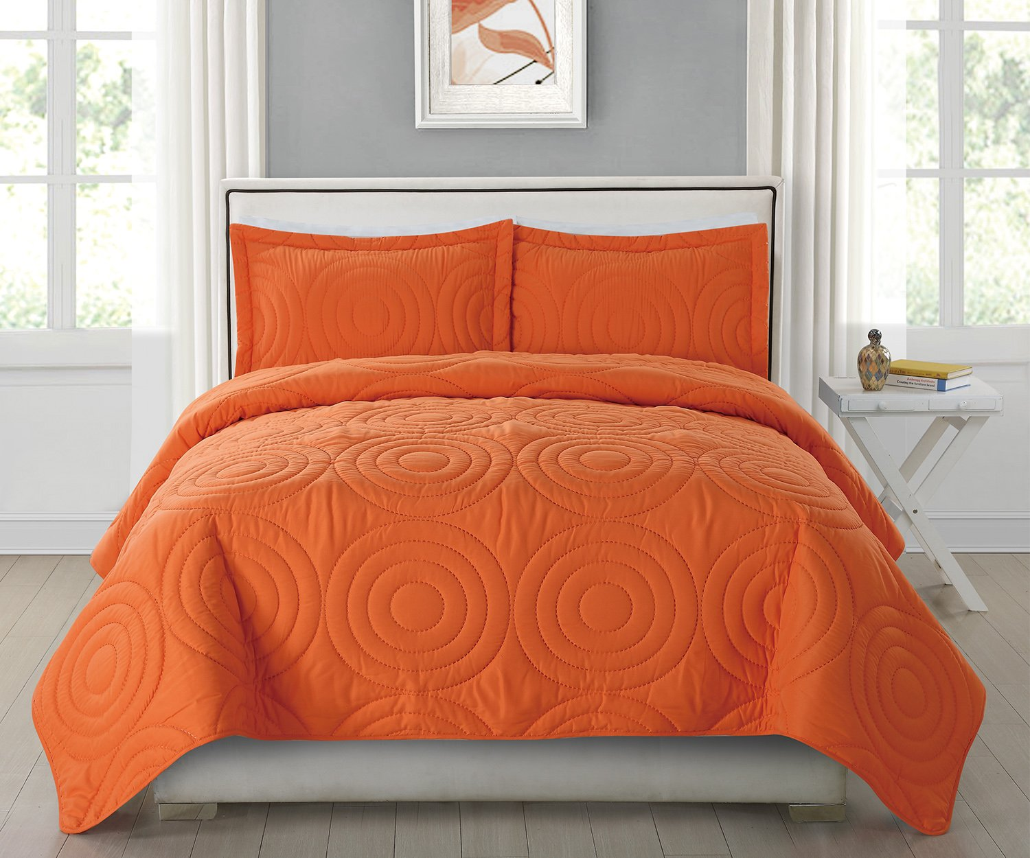 Bedding Quilt Set with 2 Pillowcases, Orange, Queen