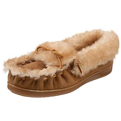 f65bb1078 Minnetonka Women's The Ultimate Sheepskin Slipper,Golden Tan,6 ...