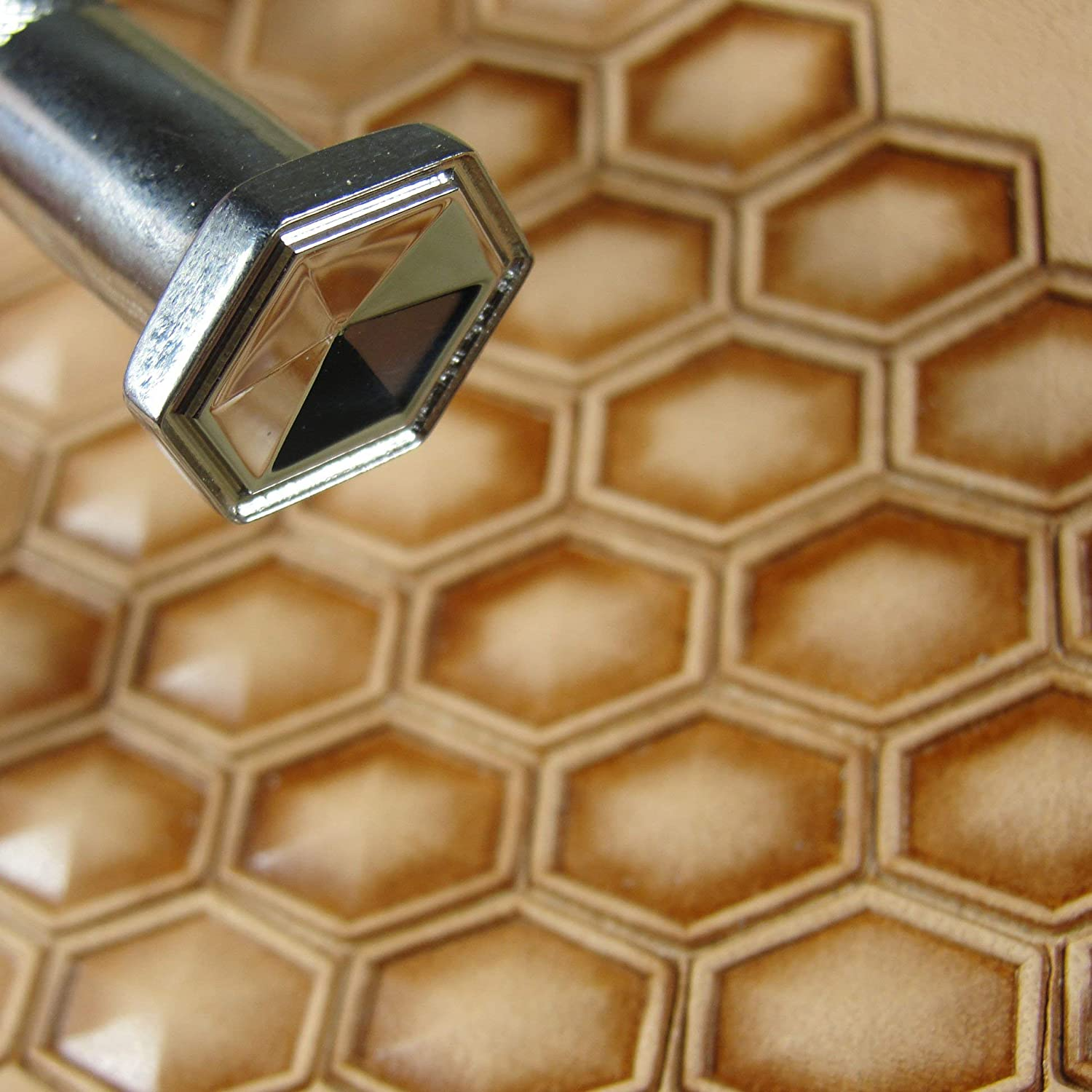#3 Elongated Hollow Hex Geometric Stamp Stainless Steel Barry King Leather Tool