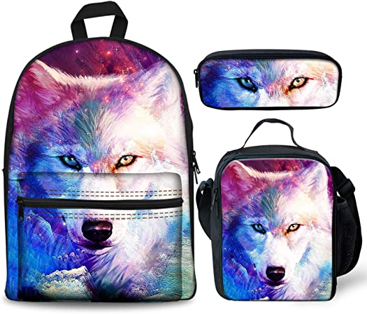 3D Galaxy Casual Backpack for School Stylish Bookbag with Lunch Bag Pencil Bags