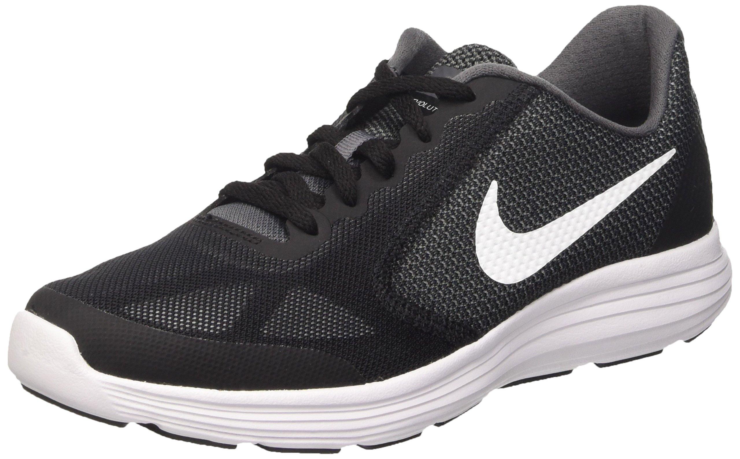 NIKE Boy's Revolution 3 (GS) Athletic Shoe, Dark Grey/White-Black-Pure Platinum, 3.5 M US Big Kid by NIKE