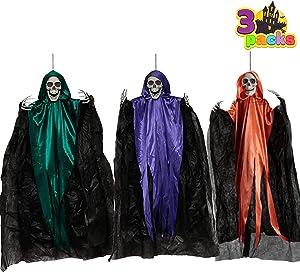"36"" Hanging Grim Reapers in different color (3 Pack), Halloween Hanging Grim Reaper, Halloween Skeleton Grim Reaper for Haunted House Prop Décor, Halloween Outdoor Indoor Decor"