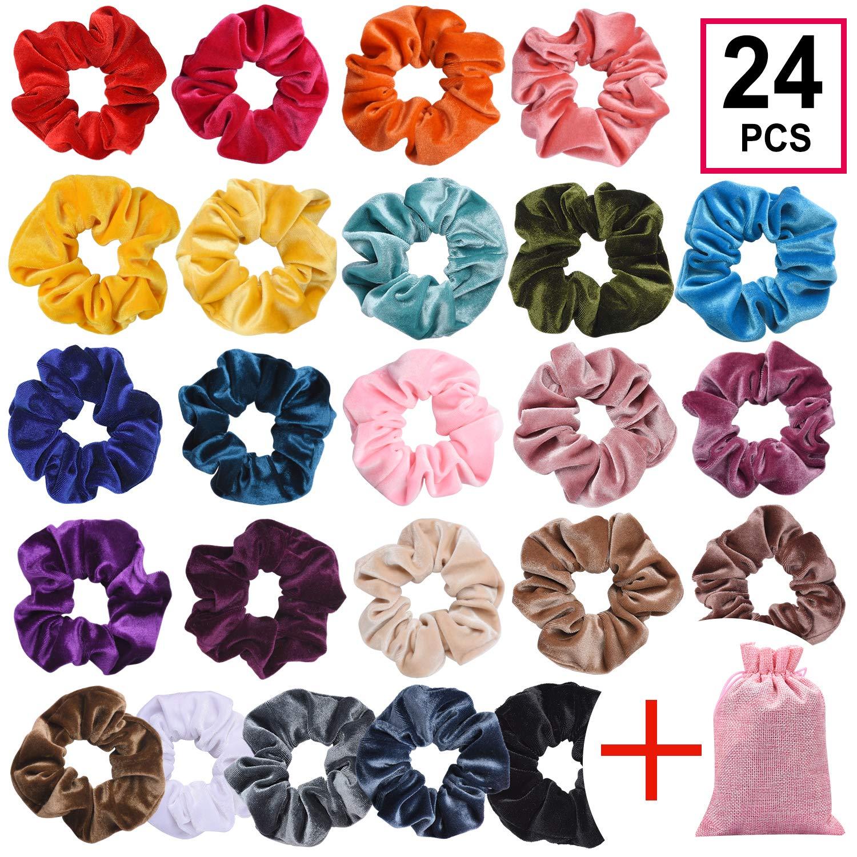 CENTSTAR 24Pcs Premium Korean Velvet Hair Scrunchies Hair Bands Scrunchy Hair Ties Ropes Scrunchie for Women or Girls Hair Accessories with collection bags (24 PCS Korean Velvet Scrunchies)