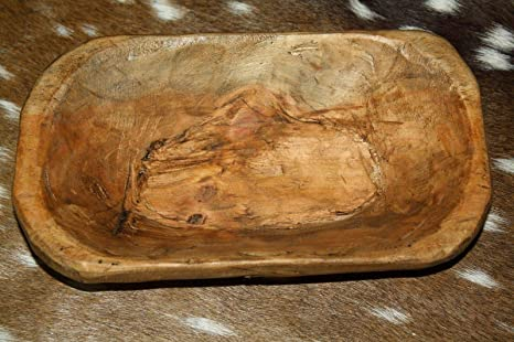"""* Carved Wooden Dough Bowl Primitive Wood Trencher Tray Rustic Home Decor 8-10/"""""""