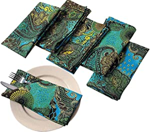 Premium Cotton Cloth Napkins Set Of 6 Size 20 X 20 Inches Green Yellow Blue Paisley Personalized Kitchen Dinner Table Wedding Party Decor Indian Home Dinning Decorations