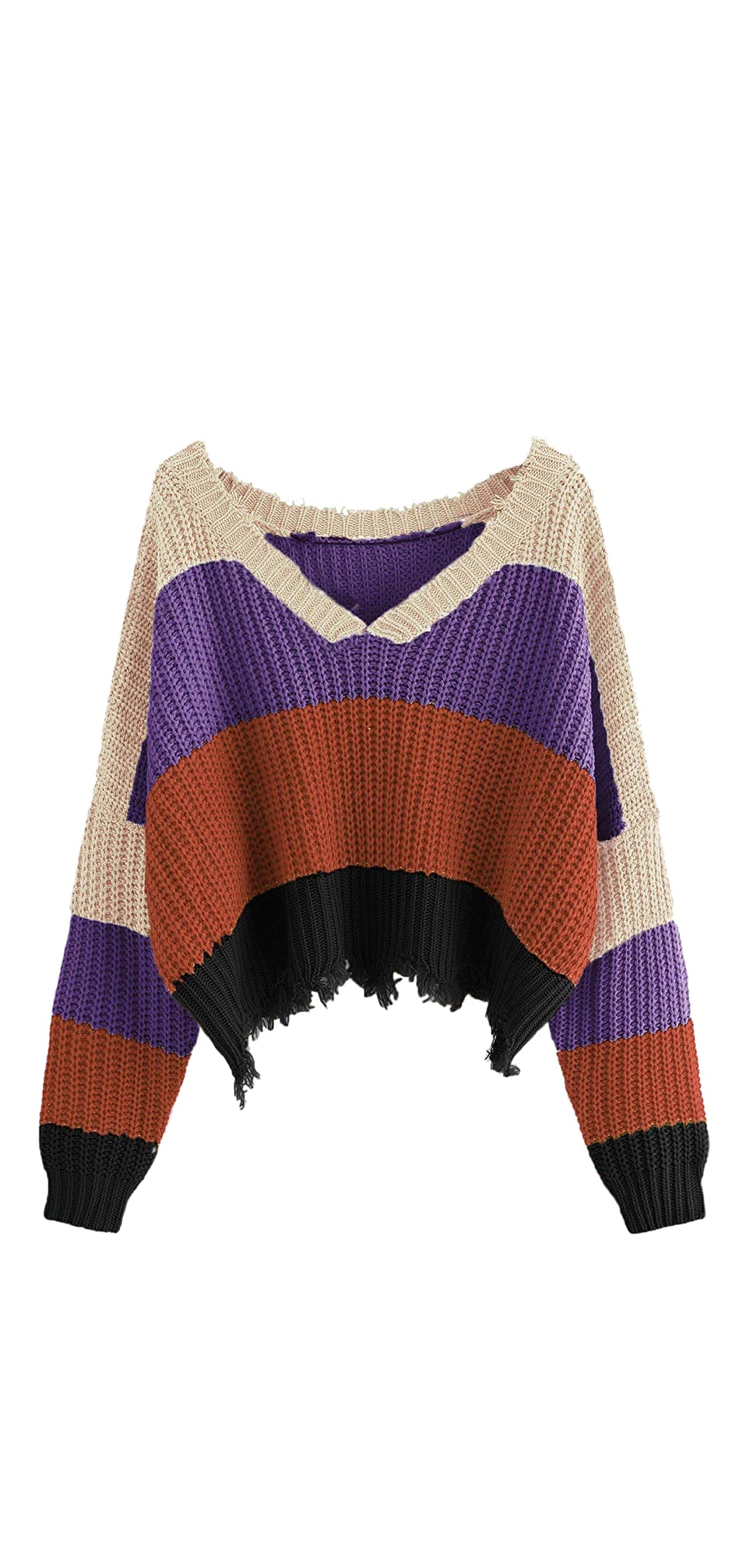 Womens Loose Crop Sweater Colorblock Knitted Ripped Tops