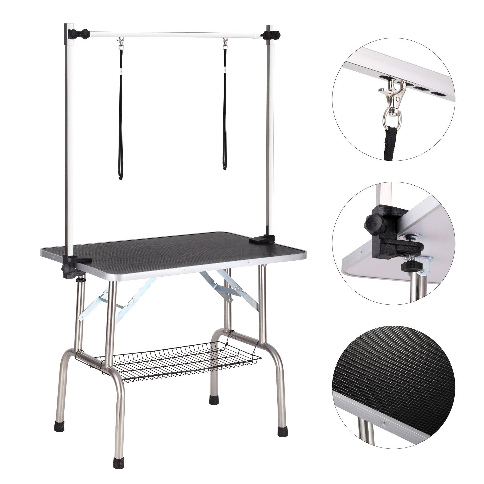 Haige Pet Dog Grooming Table, Adjustable Clamp Overhead Pet Grooming Arm with Double Grooming Loop (36'' by 24'') Black