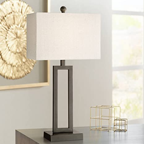 Aston Modern Table Lamp Black Metal Open Form Rectangular Off White Fabric  Shade for Living Room Family Bedroom Bedside - 360 Lighting