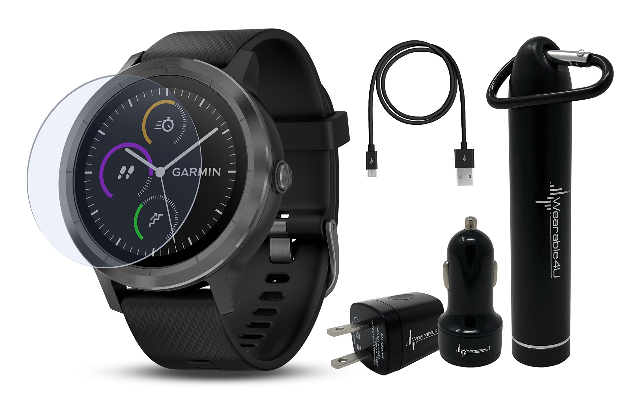 Garmin Vivoactive 3 GPS Smartwatch with Touchscreen Display and Contactless Payments Feature and Wrist-based Heart Rate and Wearable4U Ultimate Power Pack Bundle (Black/Slate)