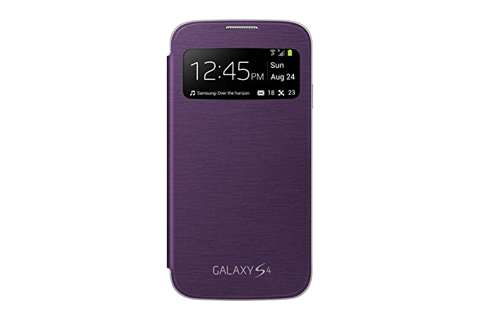 Samsung S-View Flip Cover Folio Case for Samsung Galaxy S4 - Retail Packaging - Purple