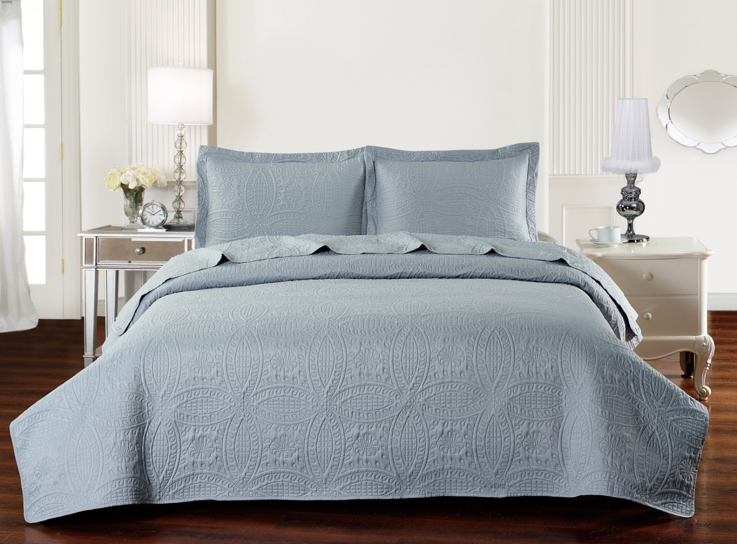 Traditional Coin Ultrasonic Coverlet/ Bed Spread King Size,Navy Blue Livingston 1603Q-C-NA-K