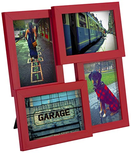 Amazon.com - Umbra Pane Four-Opening Collage Picture Frame, Red ...