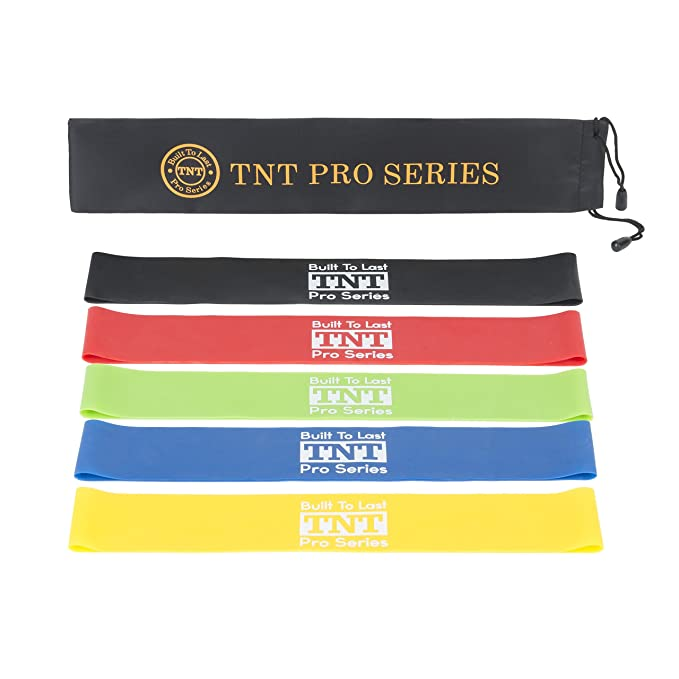 TNT Pro Series Workout Resistance Loop Bands for Legs - Premium Exercise Bands - Set of 5