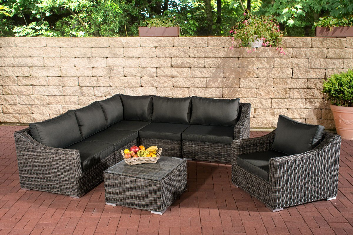 CLP Poly-Rattan Gartenmöbel Lounge Set DEL MAR, 5 mm RUND-Geflecht ...