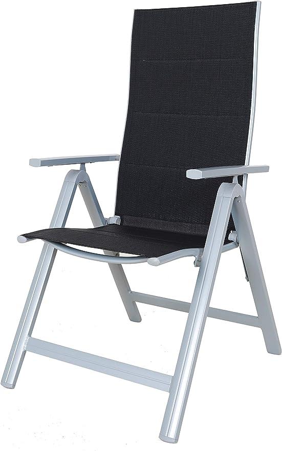 Chicreat - Juego de 2 sillas plegables regulables con 9 posiciones y respaldo alto (negro y plateado): Amazon.es: Jardín