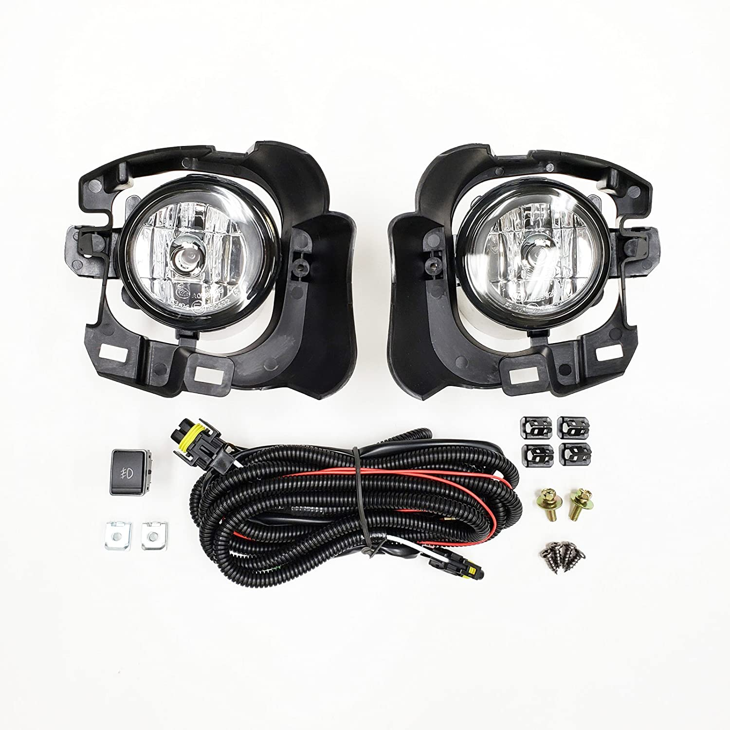 OE Style Clear Lens with Switch, Wires, Bulbs, Brackets LEDIN Fog Lights for 2014-2016 Nissan Versa Note Hatchback