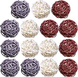 15 Pieces Wicker Rattan Balls Sphere Orbs Vase Fillers Decorative Wicker Balls for Christmas Party Wedding Baby Shower Home Garden Hanging Decoration, Aromatherapy Accessories