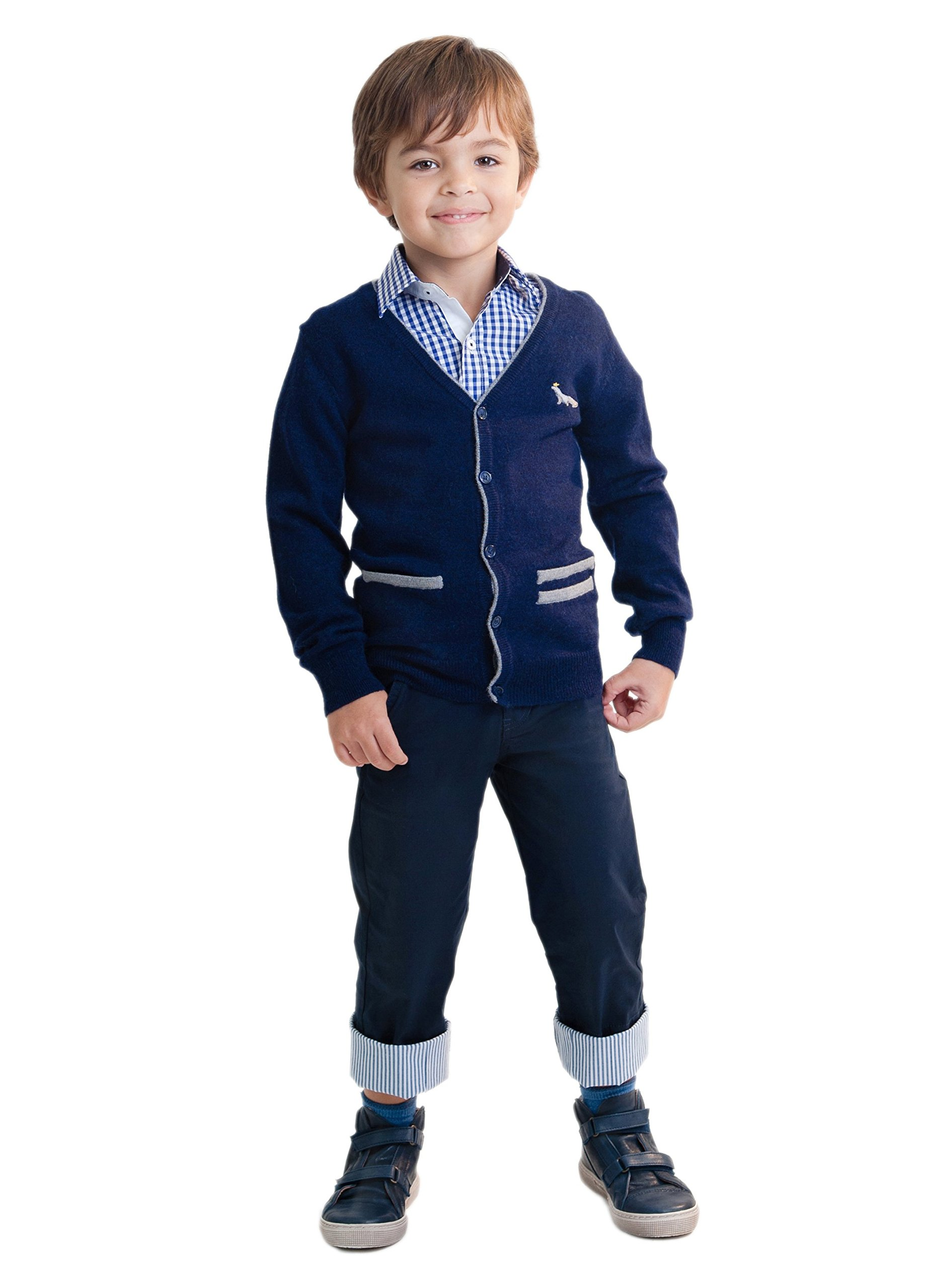 Dakomoda Toddler Boy's Blue Cashmere Wool Blend Cardigan Top Fine Knit Navy V-Neck Sweater 5T