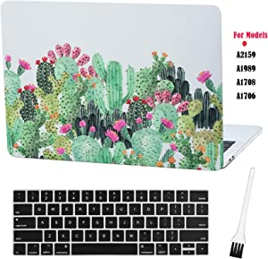 Case Star MacBook Pro 13 Inch Case 2019 2018 2017 2016 Release A1706 A1708 A1989 A2159 Ultra Thin Plastic Hard Sleeve Cover & Keyboard Cover & Anti-dust Brush (Cactus-Red Flower)