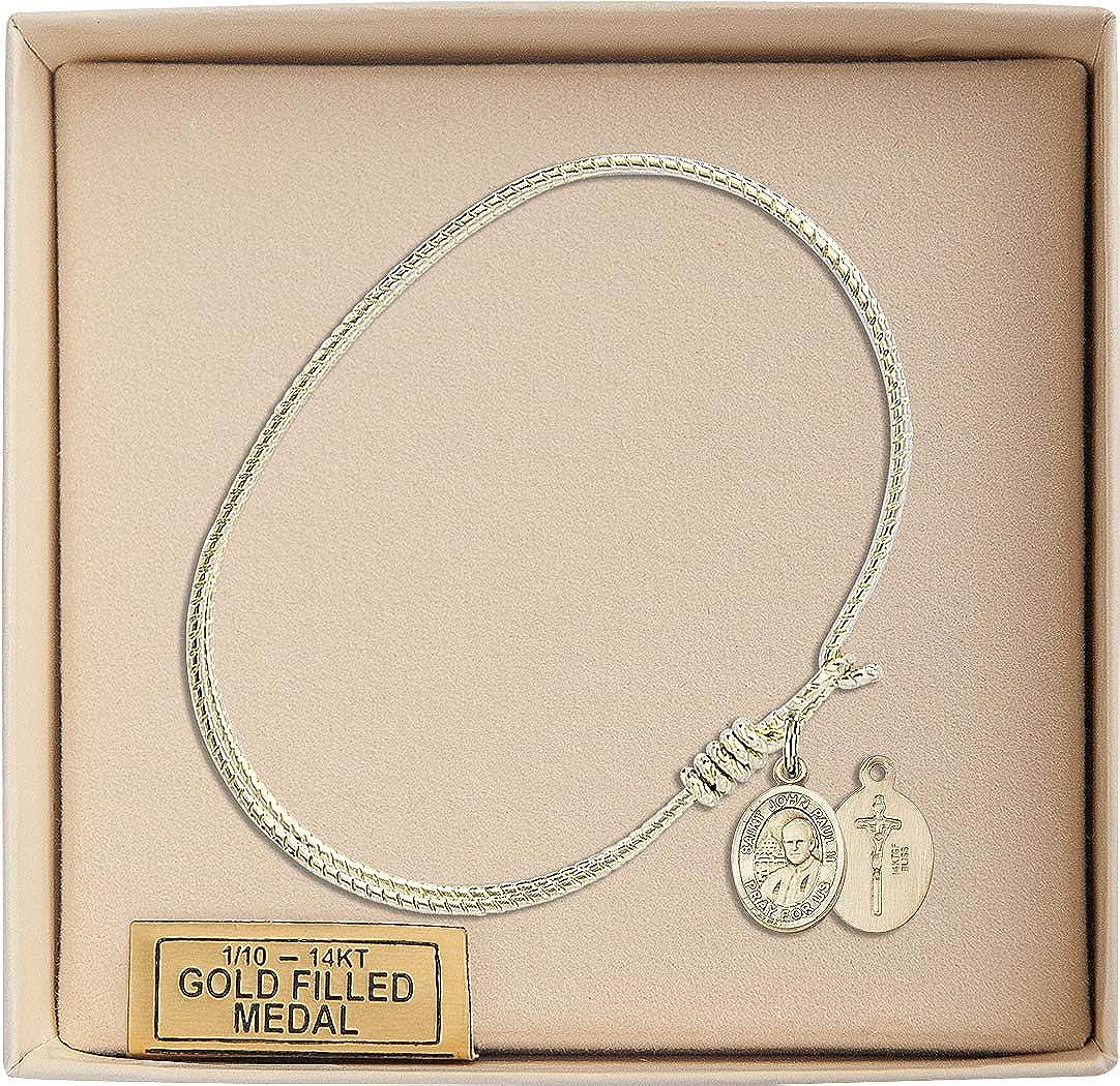 Bonyak Jewelry Oval Eye Hook Bangle Bracelet w//St John Paul II in Gold-Filled