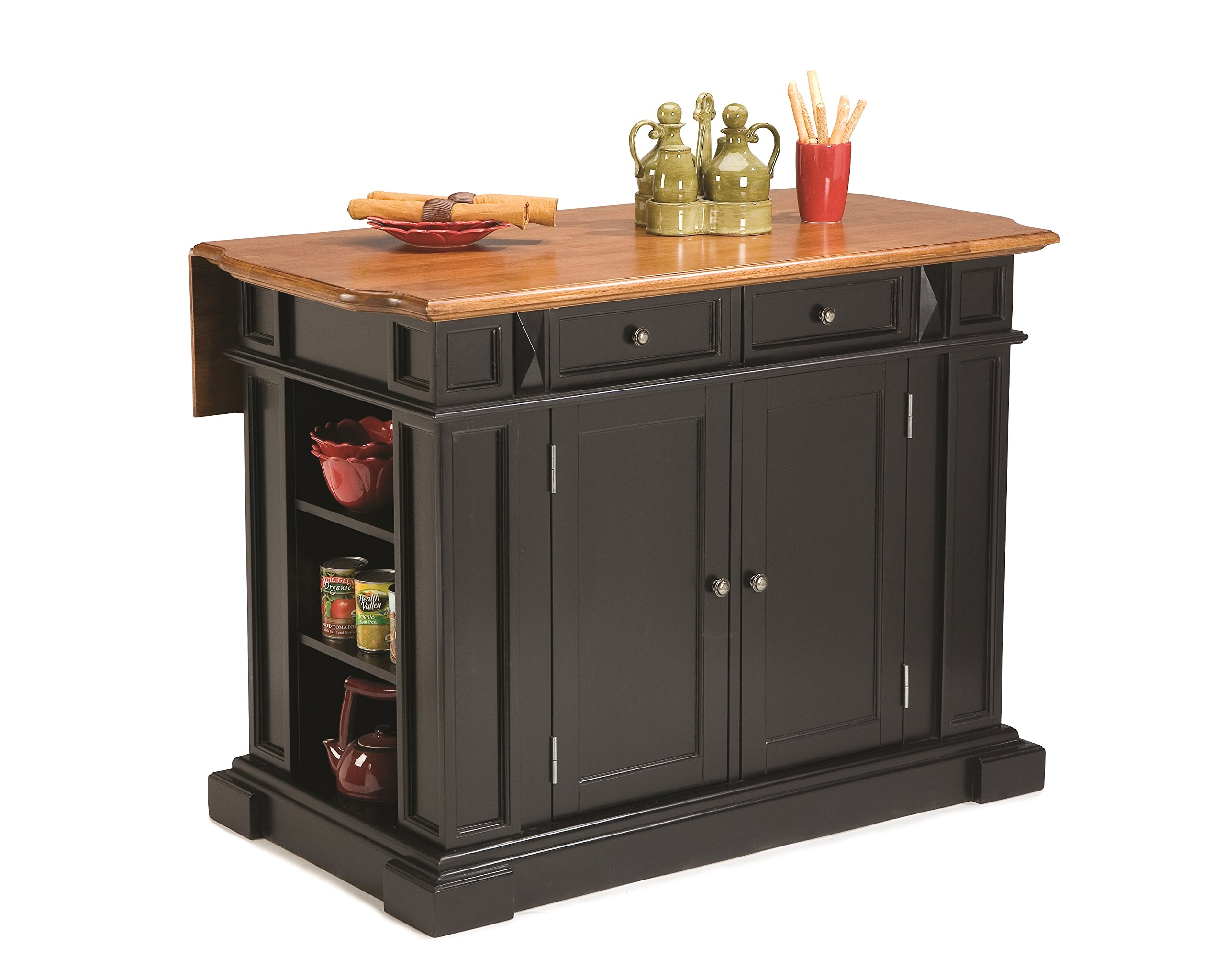 Americana Black and Distressed Oak Kitchen Island by Home Styles by Home Styles