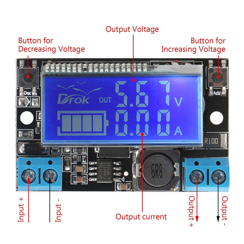 Dc Buck Voltage Converter Drok Adjustable How To Build Simple Source Regulator Stabilizer 5v 23v 9v 12v Step Down 0 165v 6v Reducer Transformer