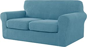 CHUN YI 3 Pieces Stretch Loveseat Sofa Cover for Dogs,2 Seater Settee Couch Slipcover with 2 Separate Cushion Replacement Coat,Small Checks Spandex Jacquard Fabric,Medium,Smoky Blue