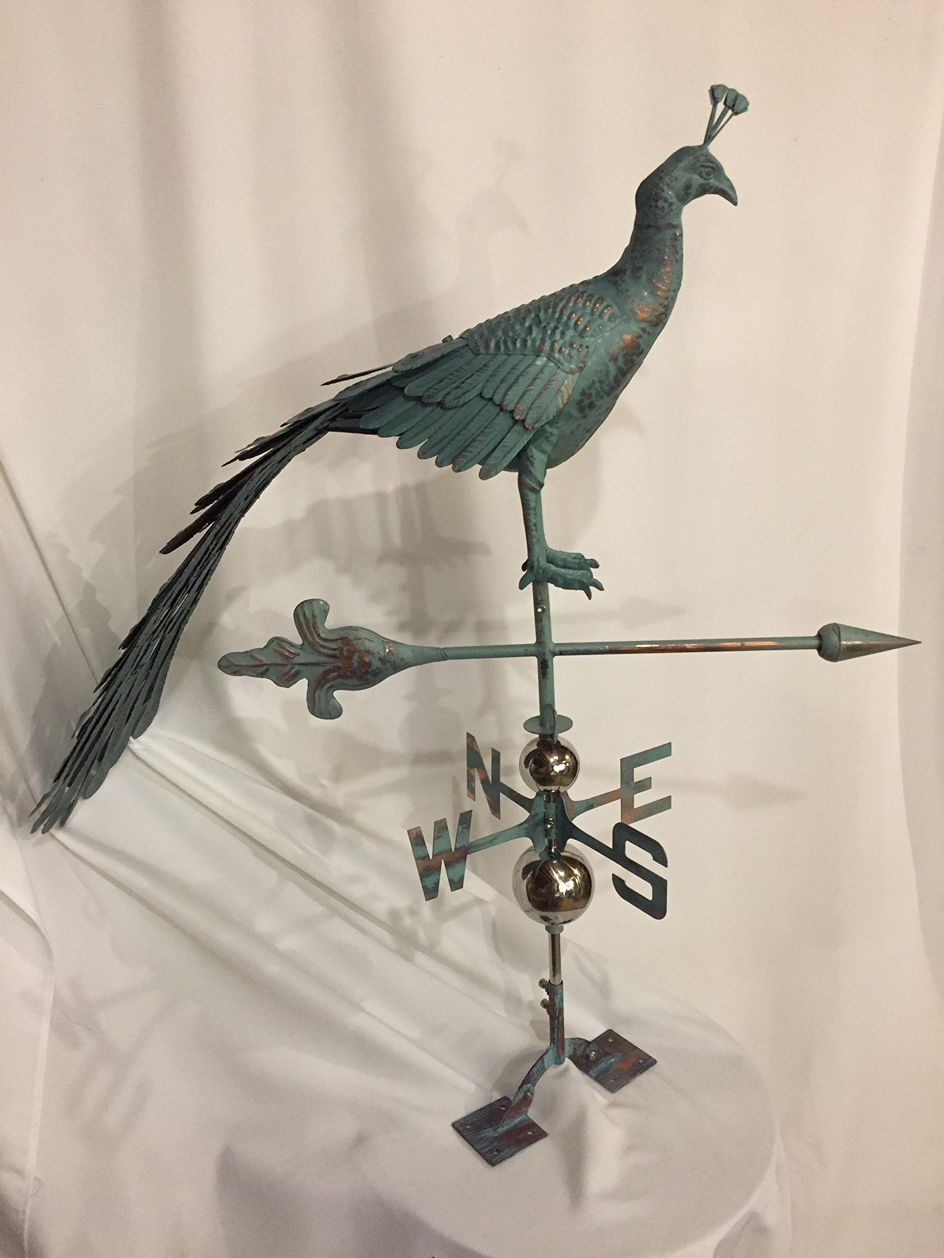 LARGE Handcrafted 3D 3- Dimensional Peacock Weathervane Copper Patina Finish