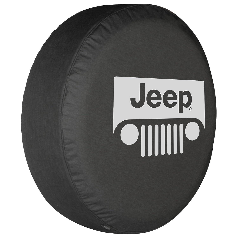 32' Jeep Grill Tire Cover - (Black Denim Vinyl) - Silver Print - Made in the USA Optimum Accessories