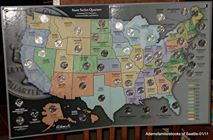 Amazoncom 1999 To 2009 Statehood Quarter Map And 56pc - Us-map-for-quarters