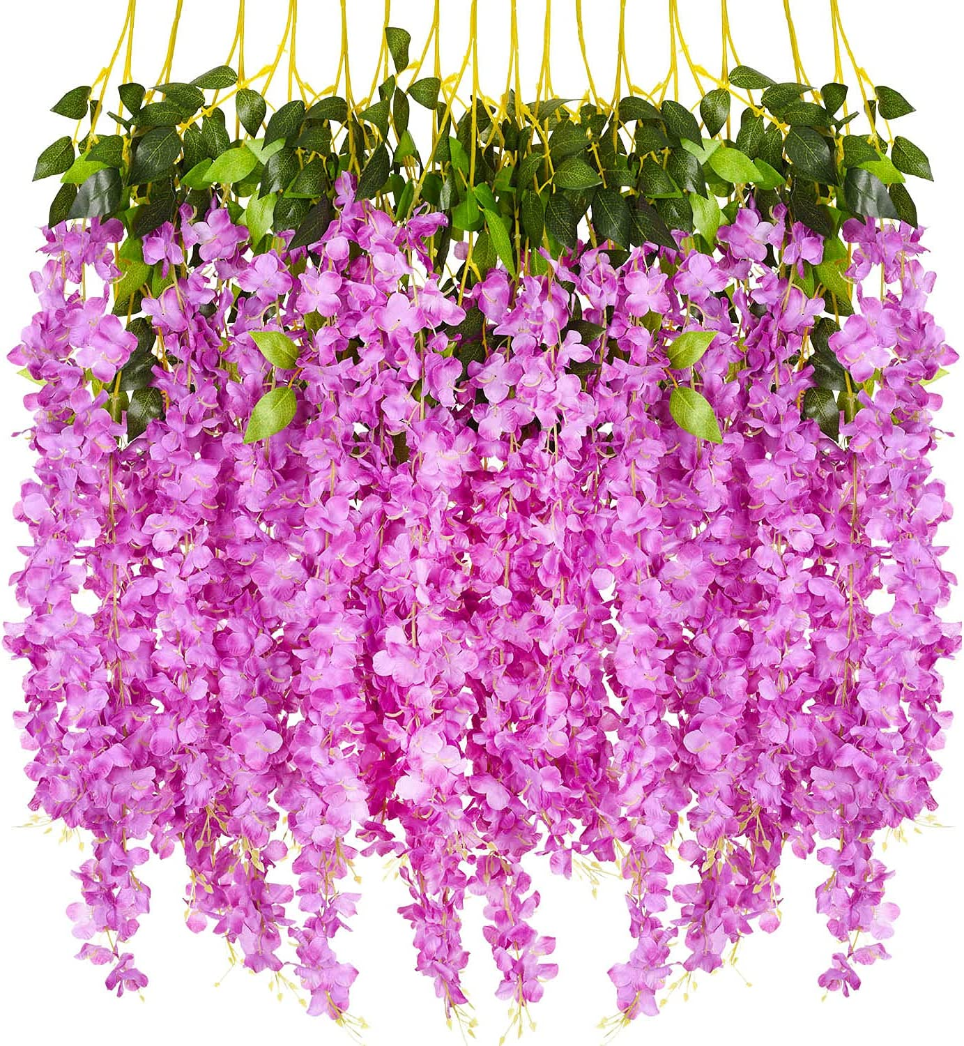 DearHouse12 Pack Artificial Fake Wisteria Vine Ratta Hanging Garland Silk Flowers String Party Home Wedding Decor, 3.75 Feet/Piece,Pink