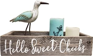 Rustic wood box for toilet - handpainted on real reclaimed wood (Hello - Cursive, Gray/White)