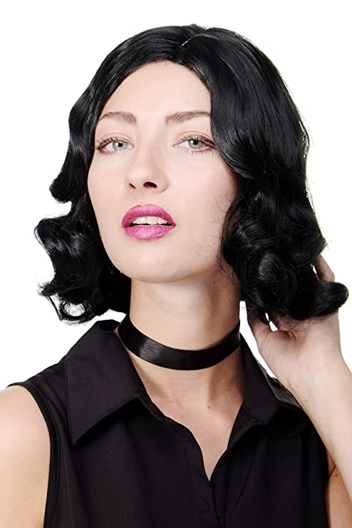 WIG ME UP ® - GFW1726-1B Peluca mujer Cosplay calidad corto años 20 Hollywood