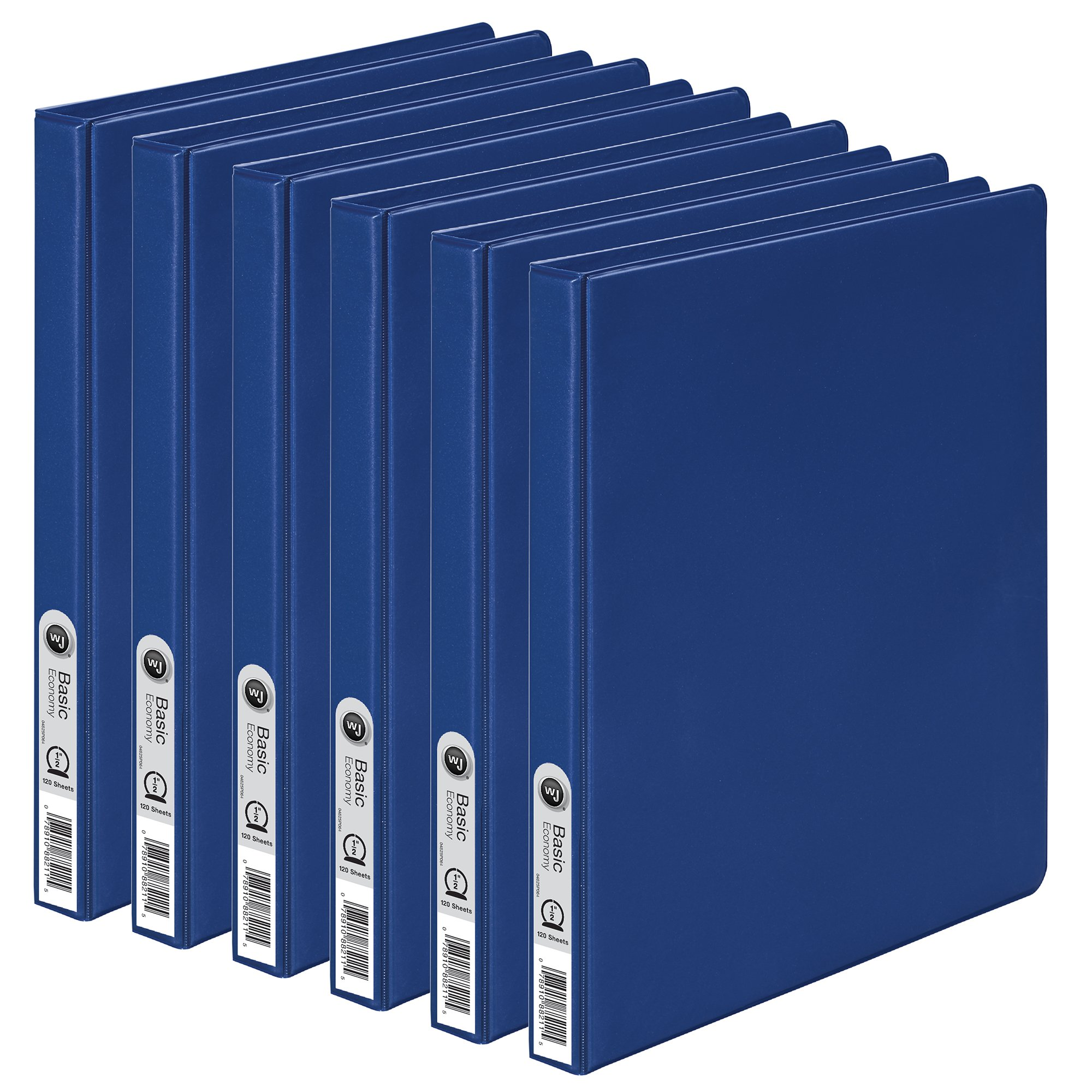 Wilson Jones Round Ring Binder, 1/2'', Blue, 6-Pack (W70368-13BL)