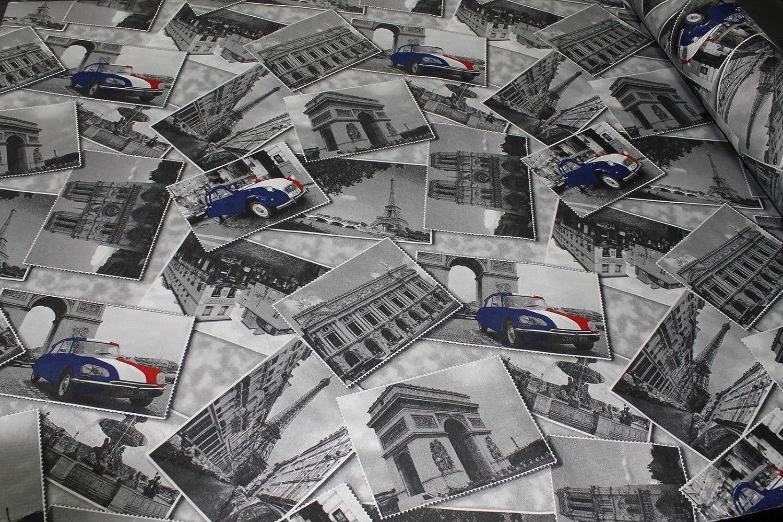 Russo Tessuti TESSUTO Per TAPPEZZERIA PARIGI TELA DI COTONE JEANS STAMPA Cartolina Scampoli-135x140 cm