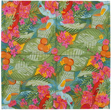 Caribbean Island Dark Blue Tropical Flowers and Butterflies IHR Luxury Traditional Paper Table Napkins 20 in Pack 3 ply