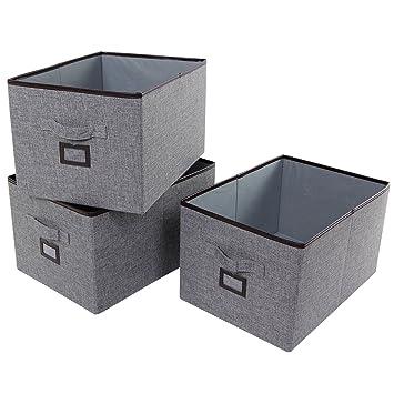 Cajón Del juego 3 para Lifewit Etiqueta Cajas De plegable Tela juguetes Poliéster Cúbico Almacenamiento Armario Ropa cesta Con Organizador w8mn0vN
