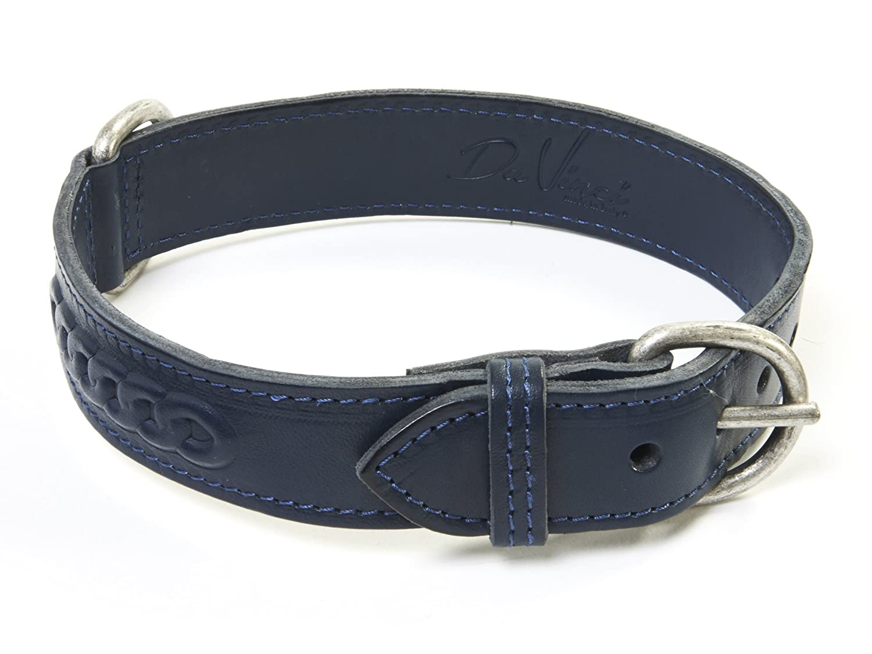Da Vinci Isabella Leder Hundehalsband mit Braid Design, 65cm, blau