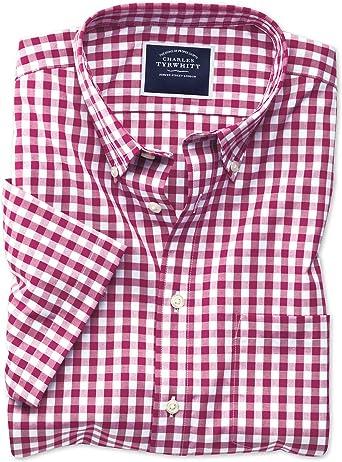 Camisa roja de Popelina a Cuadros Vichy Slim fit sin Plancha de Manga Corta con Cuello con Botones: Amazon.es: Ropa y accesorios