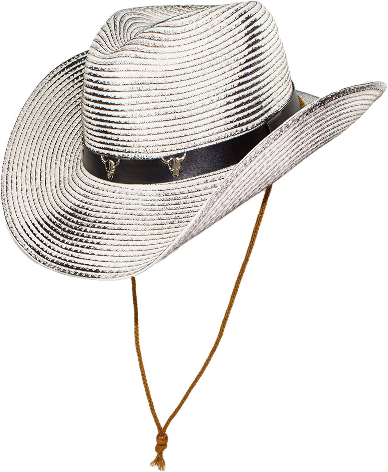 Black Hatband with Longhorn Skeletons Western Rustic Rodeo Shapeable Straw Cowboy Hat with Chin Strap White Large