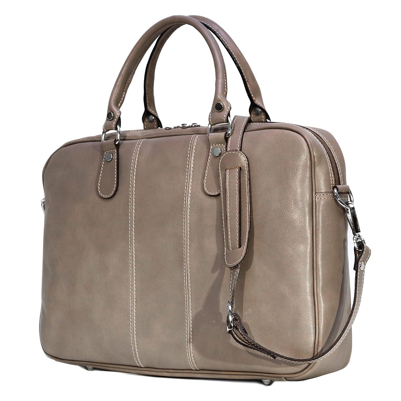 Floto Venezia Slim Grey Leather Briefcase Attache Lap-top Case