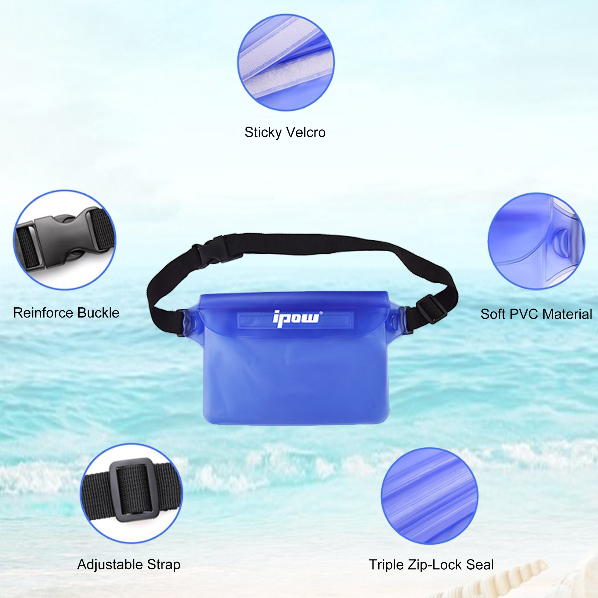 IPOW IP68 Waterproof Pouch with Waist Strap (2 Pack) | Best Way to Keep Your Phone and Valuables Safe and Dry | Perfect for Boating Swimming Snorkeling Kayaking Beach Pool Water Parks by IPOW (Image #3)