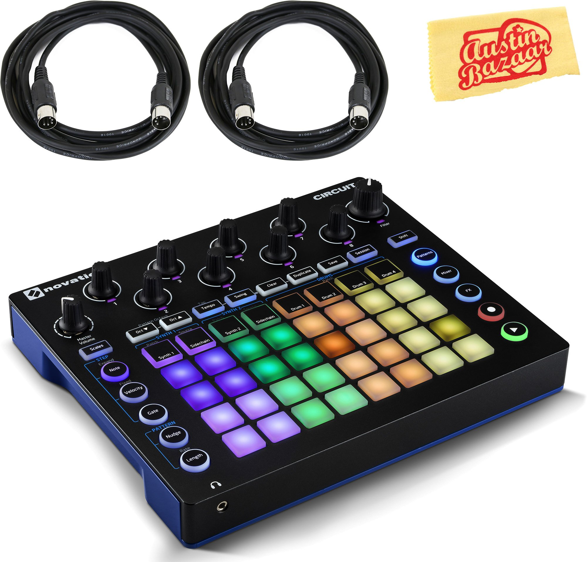 Novation Circuit Sequencer Bundle with MIDI Cables and Austin Bazaar Polishing Cloth by Novation